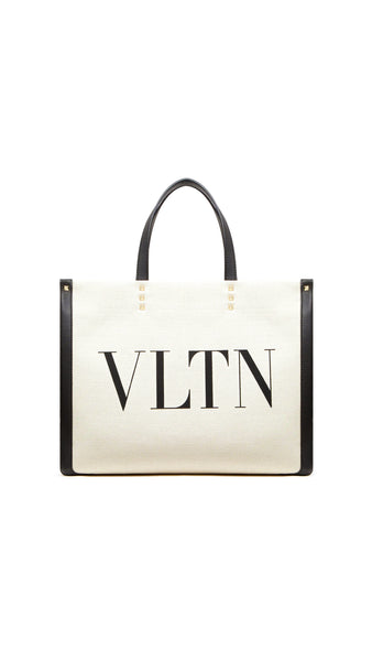 Small Canvas Tote Bag with VLTN Print and Leather Details