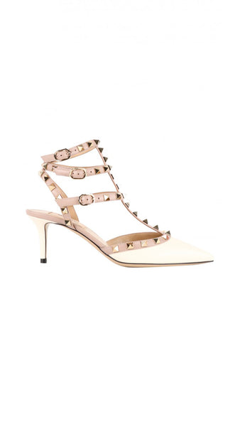 Rockstud Cage Pumps - White / Nude
