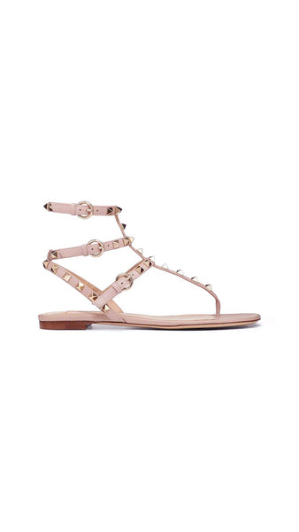Rockstud Leather Sandal - Rose Quartz