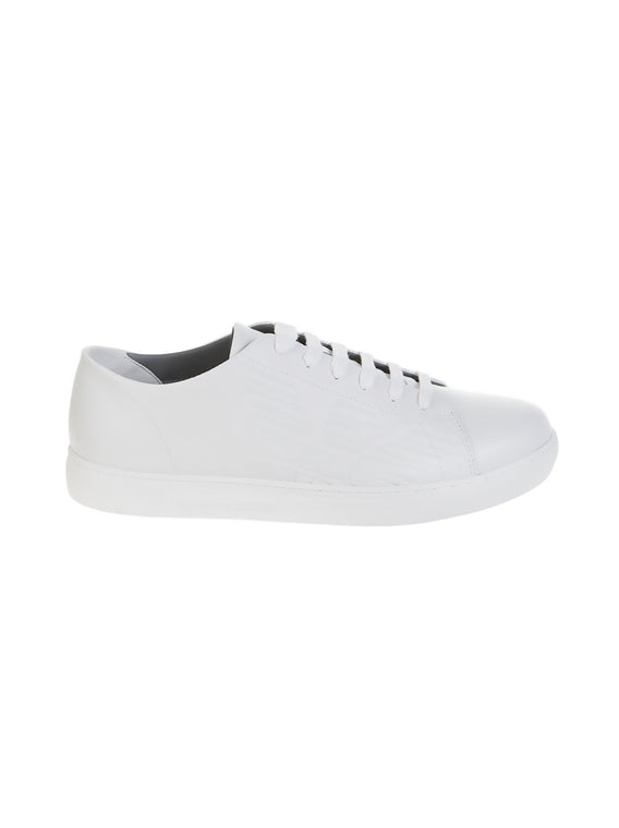 Leather Side Logo Sneaker - Optical White