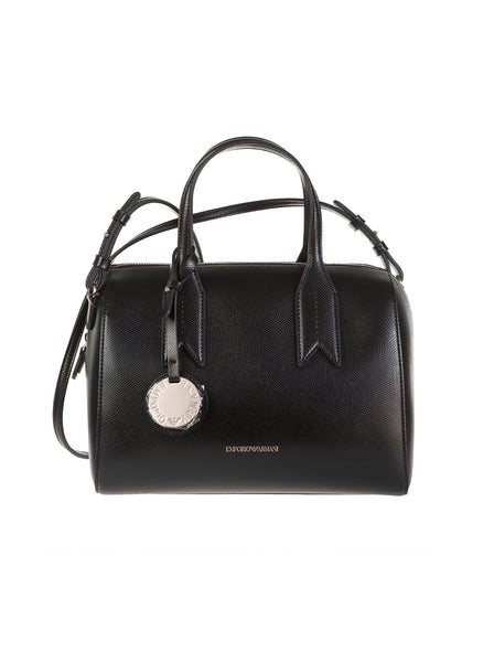 Faux Leather Bauleto Satchel Bag - Black