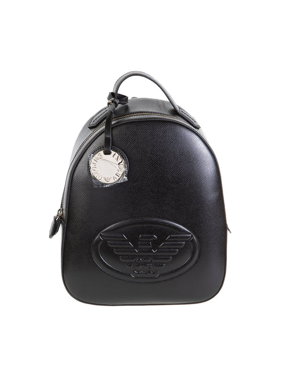 Faux Leather Friday Eagle Embossed Backpack - Black