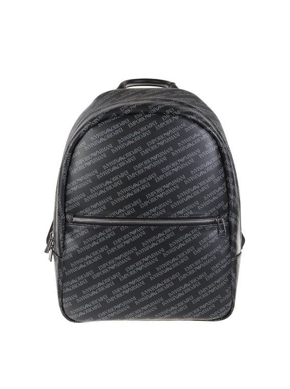0c35f095f887 Emporio Armani - Faux Leather Logo Backpack - Black