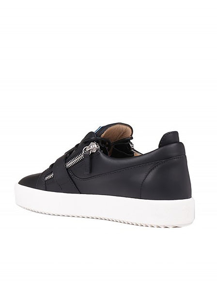 Cloc Leather & Rubber Zipper Sneakers - Black