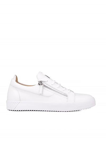 Frankie Leather & Rubber Bolt Sneakers - White