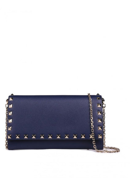 Calf Leather Rockstud Wallet On Chain - Pure Blue
