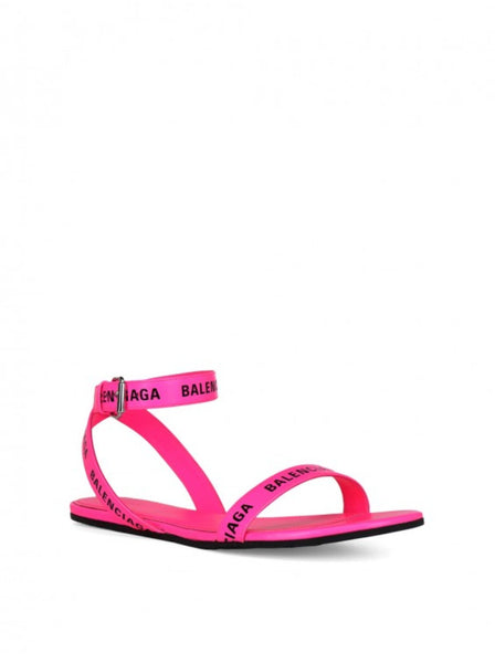 Allover Logo Calfskin Flat Sandals