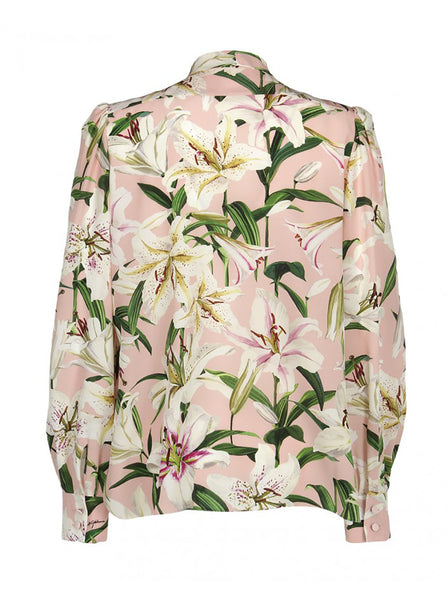Lily Print Silk Long Sleeve Blouse