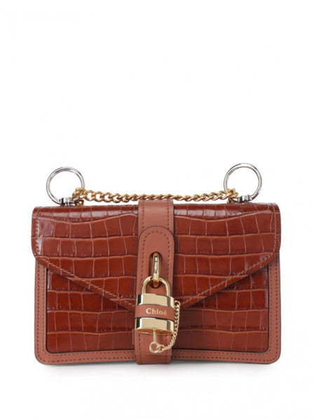 Aby Croc Embossed Chain Shoulder Bag