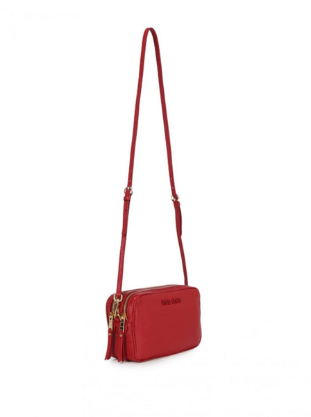 Double Zip Leather Shoulder Bag