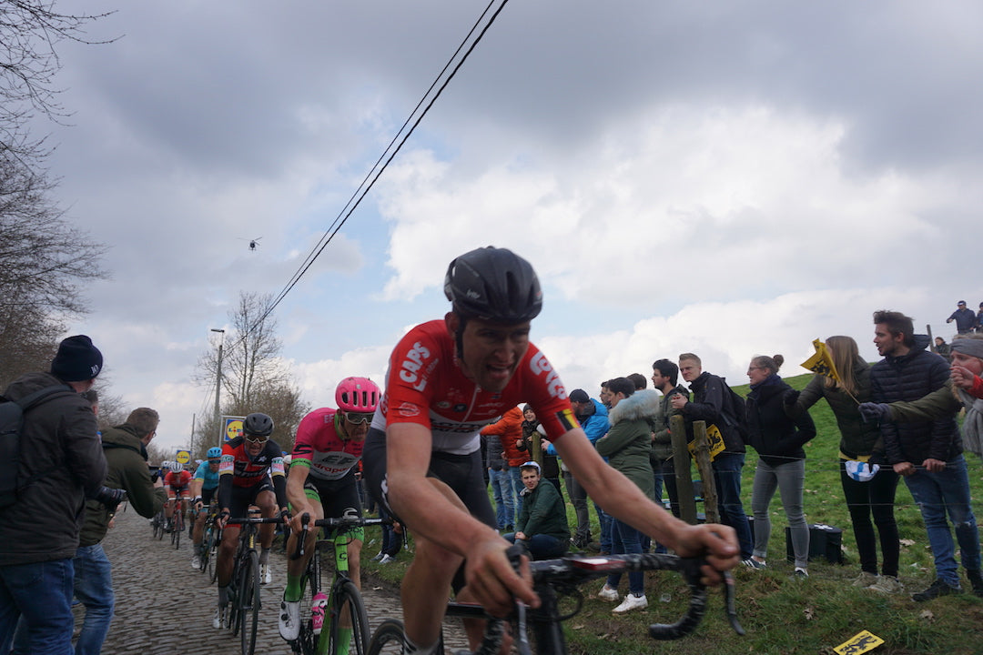 Tiesj Benoot doing bits on the Kwaremont / riding a bike 📸: Jamie Olsson