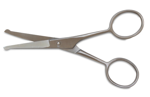 "Mars Professional Stainless Steel Ball Tip Scissors, Microserrated, Blunt Points, 4.5"" Length, For use with Faces, Ears, and Paws"