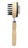 "Mars Professional Dog Slicker Brush, Double Sided with Wood Handle, 7"" Length"