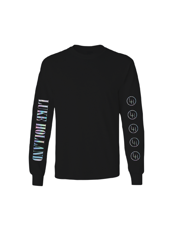 LUKE HOLLAND: LUKE HOLLAND LONG SLEEVED HOLOGRAPHIC T-SHIRT
