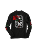 MADDTHELIN: ROSE LONG SLEEVE (BLACK) T-SHIRT