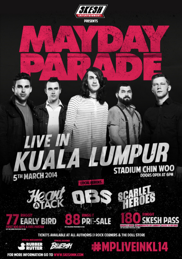 SKESH ENTERTAINMENT PRESENTS MAYDAY PARADE (LIVE IN KL 2014) POSTER