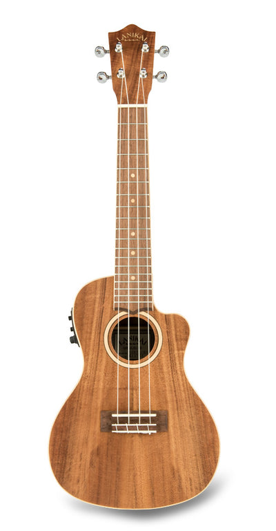 Lanikai Solid Acacia Concert Ukulele w/ Electronics and Hard Case