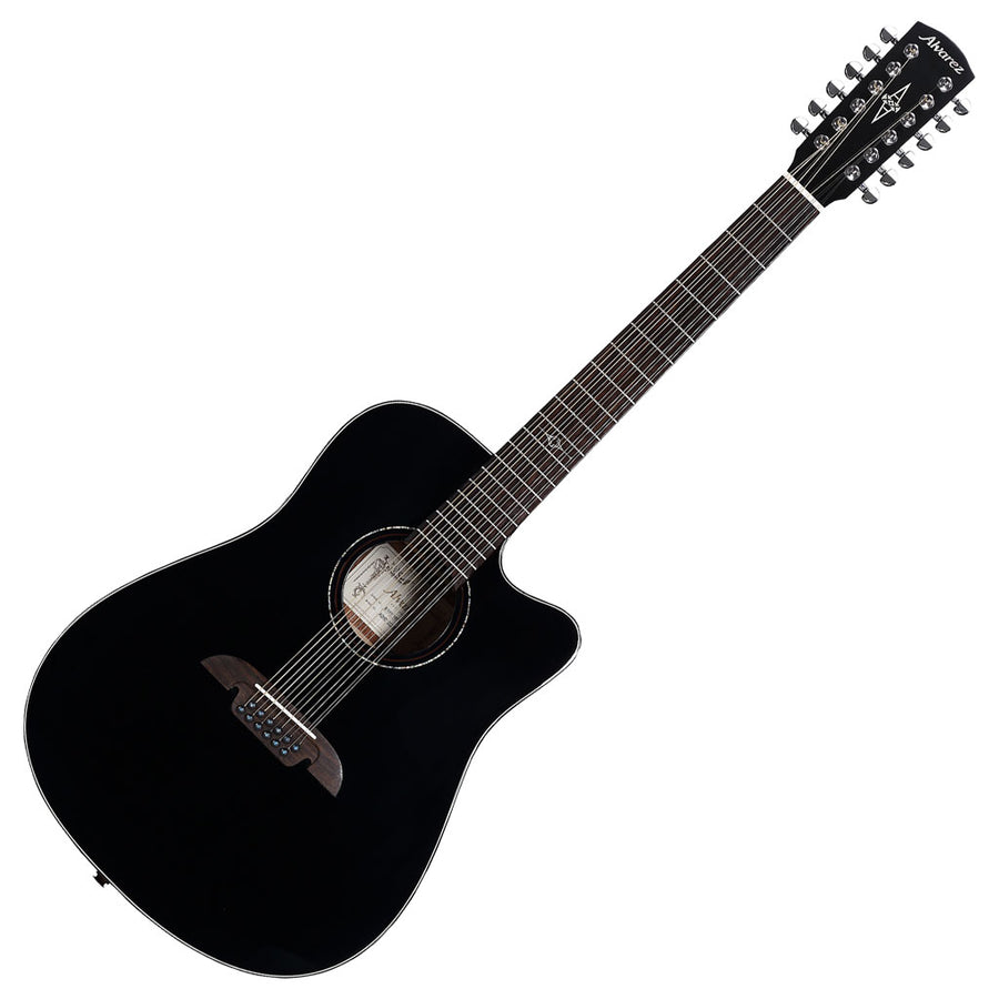 Alvarez AD60-12CE Artist 12-String Series Dreadnought Acoustic Electric Guitar in Gloss Black
