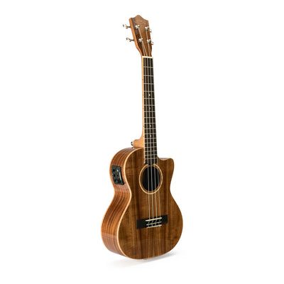 Lanikai Solid Acacia Tenor Ukulele w/ Electronics and Hard Case