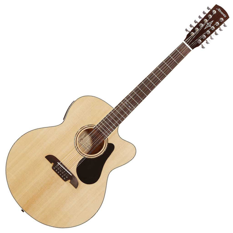 Alvarez AJ80-12CE Artist 12-String Jumbo Acoustic Electric Guitar w/Cutaway EQ and Tuner Natural