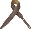 "Levy's Leathers 2½"" Leather Guitar Strap With Decorative Edge-stitching DM17-BRN"
