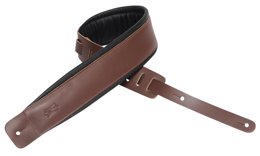 "Levy's 2 1/2"" Leather Guitar Strap with Garment Leather Backing DM1PD-BRN"