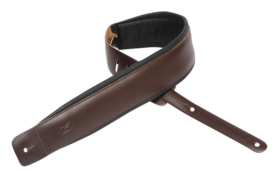 "Levy's 2 1/2""  Leather Guitar Strap with Garment Leather Backing DM1PD-DBR"