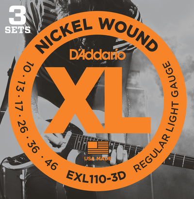 D'Addario EXL110-3D Nickel Wound Light Electric Guitar Strings 3-Pack
