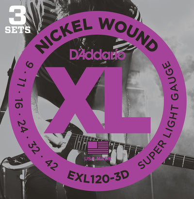 D'Addario EXL120-3D Nickel Wound Super Light Electric Guitar Strings 9-42 3-Pack