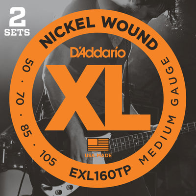 D'Addario EXL160TP Nickel Wound Bass Guitar Strings Medium 50-10 Long Scale 2-Pack