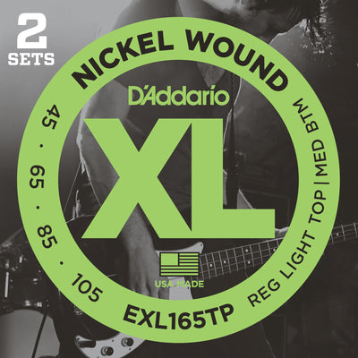 D'Addario EXL165TP Nickel Wound Custom Light Bass Guitar Strings 45-105 Long Scale 2-Pack
