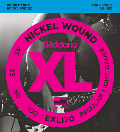 D'Addario EXL170 Nickel Wound Light Bass Guitar Strings 45-100 Long Scale