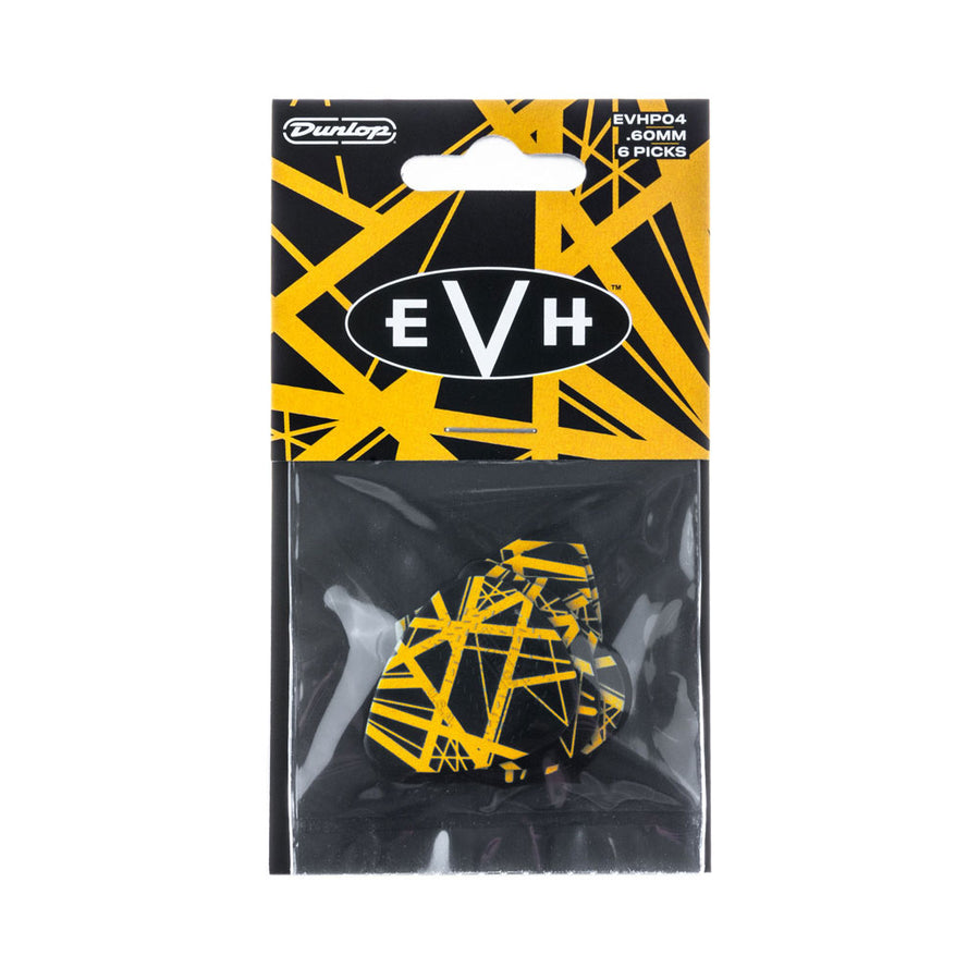 Dunlop Eddie Van Halen VHII Guitar Pick 6 Pack in Yellow with Black Stripes