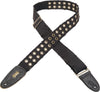 "Levy's 2"" Tear Wear Cotton Guitar Strap with Brass Eyelets MC8TWEY-BLK"