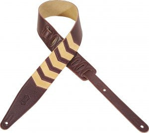 "Levy's 2 1/2"" Garment Leather Guitar Strap with Chevron Inlay MG317CV-BRG"