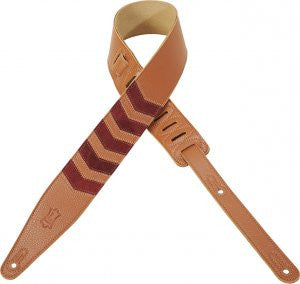 "Levy's 2 1/2""  Garment Leather Guitar Strap with Chevron Inlay MG317CV-TAN"