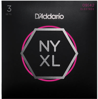 D'Addario 3 Pack NYXL0942-3P Nickel Wound 09-42 Electric Guitar String Sets