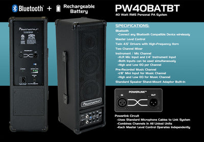 Powerwerks 40 Watt Battery Powered Personal PA Speaker PW40BATBT