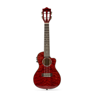 Lanikai Quilted Maple Red Stain Concert with Kula Preamp A/E Ukulele w/ Bag