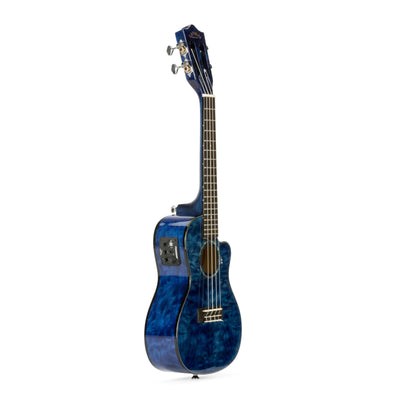 Lanikai Quilted Maple Blue Stain Concert with Kula Preamp A/E Ukulele w/ Bag