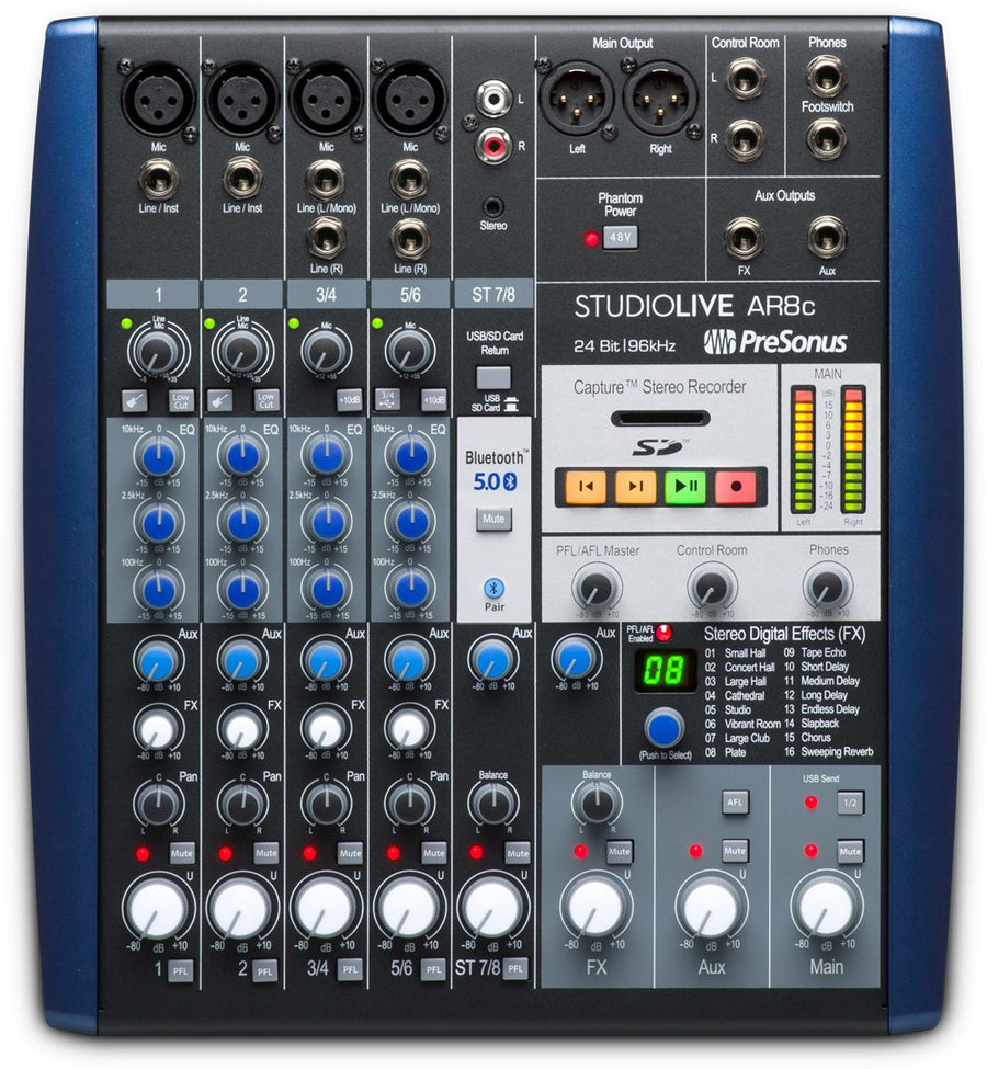 PreSonus StudioLive AR8c USB-C Hybrid Analog Mixer/Audio Interface/SD Recorder