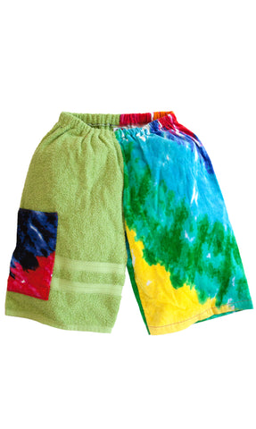 Towel Shorts - Multi Tie Dye Jammers - Kiki's Nation