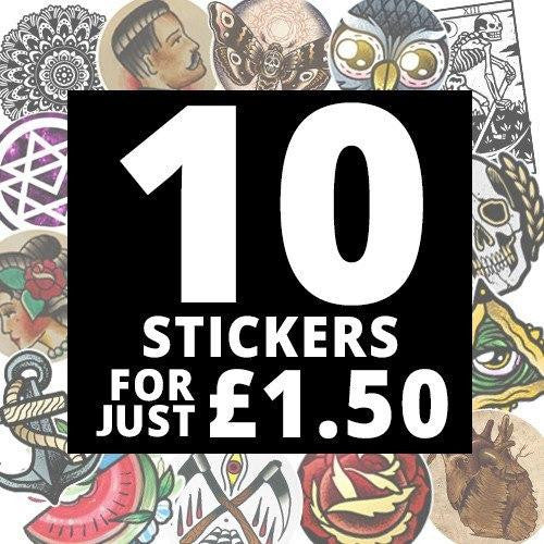 10 Stickers For £1.50 - Sticker Bomb Something! - Custom Flesh Plugs & Gauges, Alternative, Tattoo - Stickers - 1