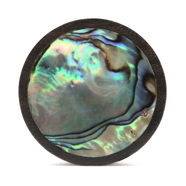 Dark Sono Abalone Wood Plug - Custom Flesh Plugs & Gauges, Alternative, Tattoo - Wood Plugs - 1