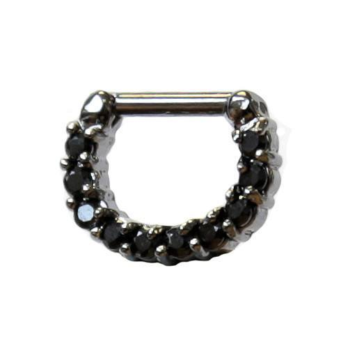 Black Septum Clicker 1.6mm - Custom Flesh Plugs & Gauges, Alternative, Tattoo - Curved Barbells - 1