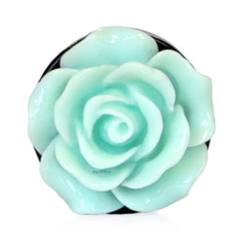 Pastel Green Acrylic Rose - Plug - Custom Flesh Plugs & Gauges, Alternative, Tattoo - Acrylic Plugs - 3