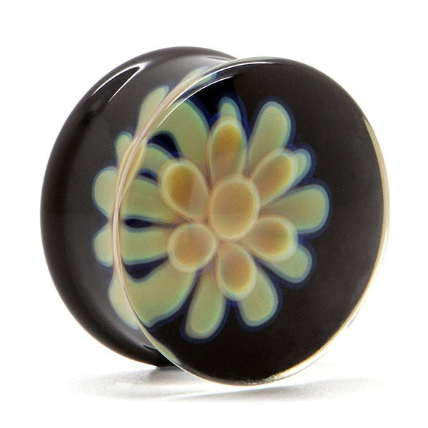 Butterscotch Koosh Glass Plug - Custom Flesh Plugs & Gauges, Alternative, Tattoo - Glass Plug - 1