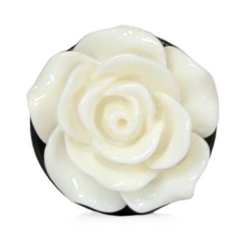 Light Cream Acrylic Rose - Plug - Custom Flesh Plugs & Gauges, Alternative, Tattoo - Acrylic Plugs - 3