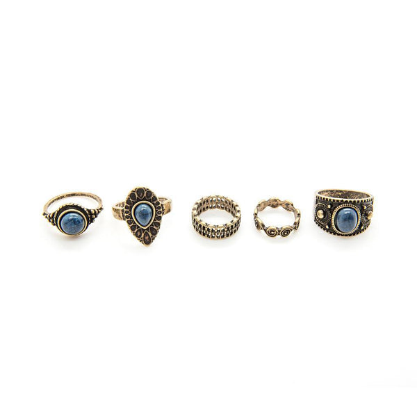 Antique Blue Stone Ring Set - Custom Flesh Plugs & Gauges, Alternative, Tattoo - Jewellery - Ring - 1
