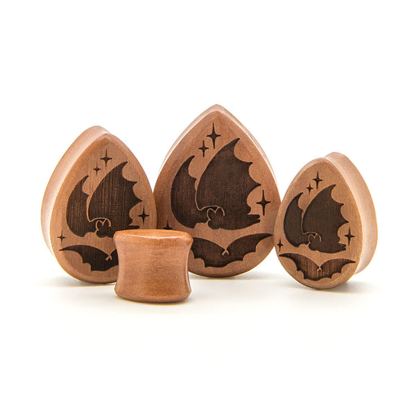 Bats Saba Teardrop Wood Plug - Custom Flesh Plugs & Gauges, Alternative, Tattoo - Engraved Woods - 1